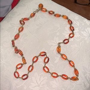Vtg 60s/70s plastic amber colored rings necklace
